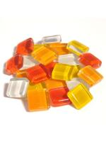 Glassteine Mosaik Soft gelb-rot mix 10x10mm