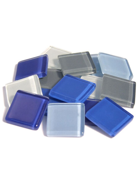Glassteine Mosaik Soft blau mix 20x20mm