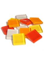 Glassteine Mosaik Soft gelb-rot mix 20x20mm