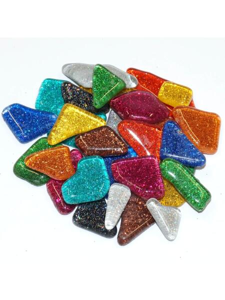 Glassteine Mosaik Soft glitter mix polygonal