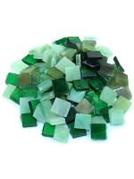 Glas Mosaik Tiffany grün-mix 10x10 200g